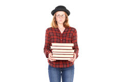 Topo di biblioteca adolescente Immagini Stock