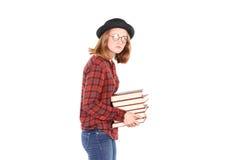 Topo di biblioteca adolescente Fotografie Stock Libere da Diritti