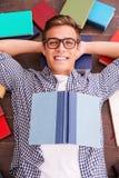 Topo di biblioteca felice Immagini Stock