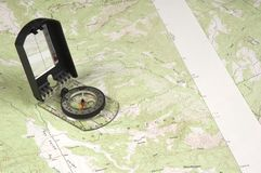 Topo Map and compass Royalty Free Stock Image
