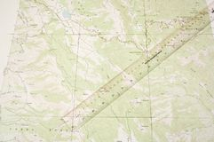 Topo Map and ruler latitude Stock Images