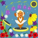 Topo MERLIN e fiori Immagine Stock Libera da Diritti