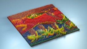 topografia da rendição 3d com cubos fotografia de stock royalty free