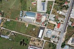 Topograficzny widok z lotu ptaka przemysłowy teren Zdjęcia Royalty Free