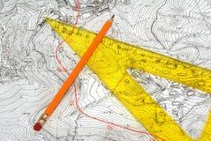 topografisk kort Arkivbild