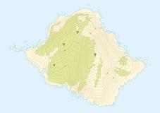 Topographic översikt av en uppdiktad ö Arkivbilder