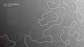 Topographic line map. Abstract topographic map banner with copy space. Vector background stock illustration