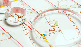 Topographic map. Rules and loupe Stock Photos