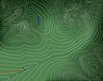 Topographic map. Editable vector illustration of a generic contour map of mountains Stock Photo