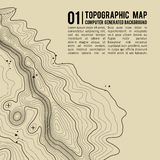 Topographic map background with space for copy . Line topography map contour background , geographic grid abstract. Vector illustration . Mountain hiking trail Royalty Free Stock Images