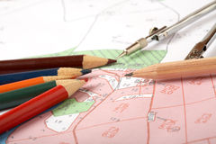Topographic map of district. With a measuring instrument and pencils Stock Images