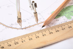 Topographic map of district. With  measuring instrument,  ruler and a pencil Royalty Free Stock Photography