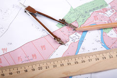 Topographic map of district   measuring instrument Royalty Free Stock Photos