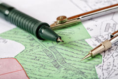 Topographic map of district. With a measuring instrument Stock Photo