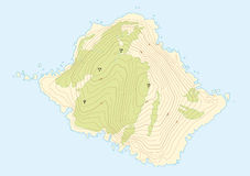 Topographic map of a fictional island. Eps 10 Stock Images