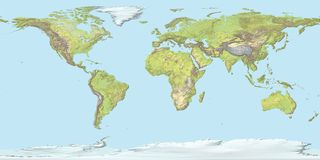 Free Topographic Map Of The World With Borders, 3D Render Stock Photography - 134699422