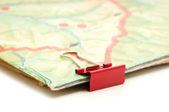 Topographic map and paper clip Royalty Free Stock Photography