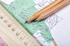 Topographic map and pencils. Close up stock image