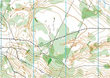 Topographic vector map. Fragment of topographic vector map for orienteering sport Royalty Free Stock Photos