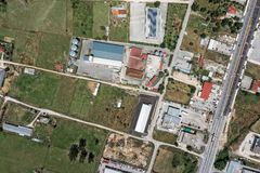 Topographical aerial view of industrial area. Topographical vertical aerial view of industrial area royalty free stock photos