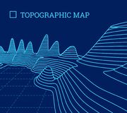 Topographical map of the locality, vector illustration. With lines royalty free illustration