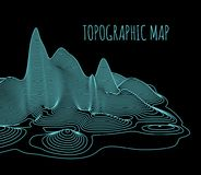 Topographical map of the locality, vector illustration. With lines vector illustration