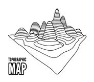 Topographical map of the locality, vector illustration Royalty Free Stock Photos