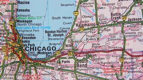 Topographical map of the USA. Chicago - Cleveland stock footage