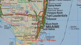 Topographical map of the USA. Miami stock video