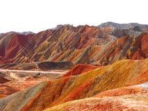 Topographie colorée de Danxia, Zhangye, Gansu, Chine photographie stock libre de droits