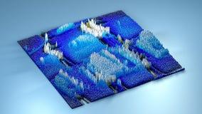 Topographie der Wiedergabe 3d mit Würfeln Lizenzfreies Stockfoto