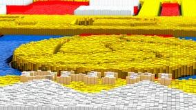 Topographie der Wiedergabe 3d mit Würfeln Lizenzfreies Stockbild