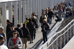 Topographie des Terrors (topography of terror). CIRCA SEPTEMBER 2012 - BERLIN: visitors at the exhibition Topographie des Terrors (topography of terror) on royalty free stock photo