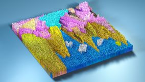 topographie du rendu 3d avec des cubes Images libres de droits