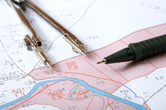 Topographische Karte des Bezirkes mit Instrument Lizenzfreies Stockbild