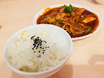 Topokki mit Schweinefleischscheibe in Korea-Quelle mit dem Reis, der durch indischen Sesam übersteigt lizenzfreies stockfoto