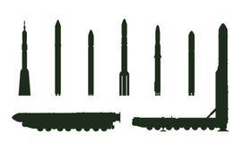 Topol-M e siluetta dei razzi Immagine Stock