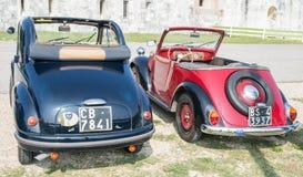 Topolino cars. VERONA, ITALY - SEPTEMBER 27: Topolino cars. Topolino Autoclub Italia organizes a gathering on Lake Garda Sunday, September 27, 2014. Cars and Royalty Free Stock Photography
