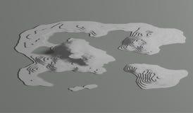 topologisk översikt 3d av berg och kullar Kartografi och topologi illustration Royaltyfria Bilder