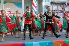 Topotukha folk dance ensemble in Russian traditional clothing. Pyatigorsk, Russia. Pyatigorsk, Russia - November 4, 2017: Participants of Topotukha folk dance royalty free stock photos