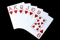 topp- bakgrundsblack cards hjärtor som leker ut Arkivfoton