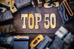 Topp 50 begrepp Rusty Type Arkivfoto