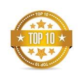 Topp 10 design för skyddsremsastämpelillustration Royaltyfri Fotografi