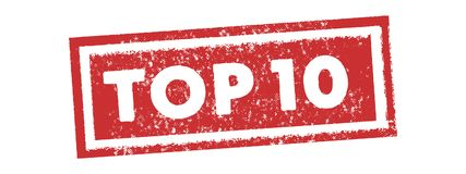 Topp 10 för stämpeletikett för tappning röd vektor för baner royaltyfri illustrationer