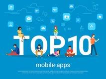 Topp 10 mobila apps och folk med grejer genom att använda smartphones royaltyfri illustrationer