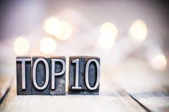 Topp 10 tema för typ för begreppstappningboktryck Royaltyfri Fotografi