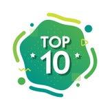 Topp 10 tio ord på grön abctractbakgrund också vektor för coreldrawillustration royaltyfri illustrationer