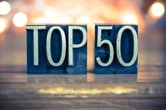 Topp 50 typ för begreppsmetallboktryck Arkivbild