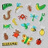 Toppe degli insetti e degli insetti, autoadesivi, distintivi messi per le stampe e tessuto royalty illustrazione gratis
