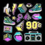 Toppe di modo dentro nello stile di 80s-90s Memphis illustrazione di stock